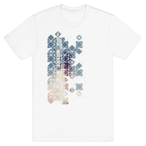 Hexagon Space Ship Mens T-Shirt