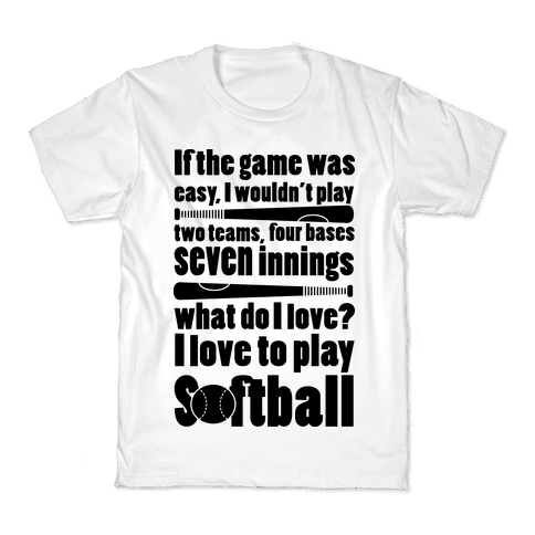 I Love Softball Softball Kids T-Shirt