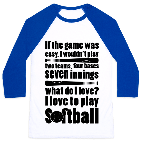 I Love Softball Softball Baseball Tee