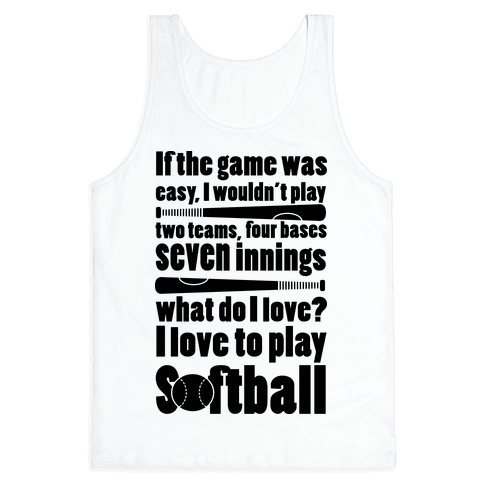 I Love Softball Softball Tank Top