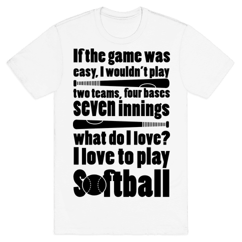 I Love Softball Softball Mens T-Shirt