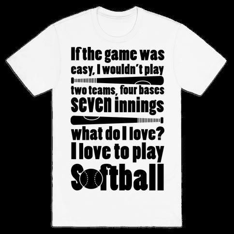 I Love Softball Softball Mens T-Shirt