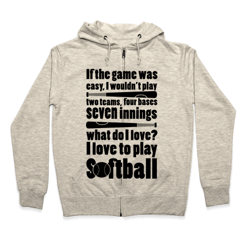 I Love Softball Softball Zip Hoodie