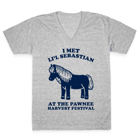 I Met Li'l Sebastian at the Pawnee Harvest Festival V-Neck Tee Shirt