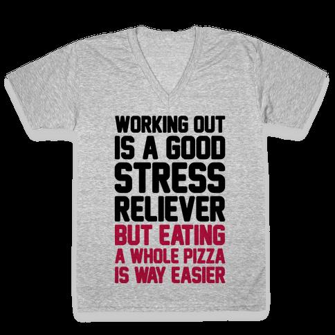 Pizza Workout V-Neck Tee Shirt