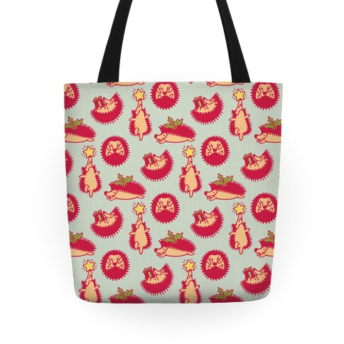 Yule Hogs Hedgehog Pattern Tote
