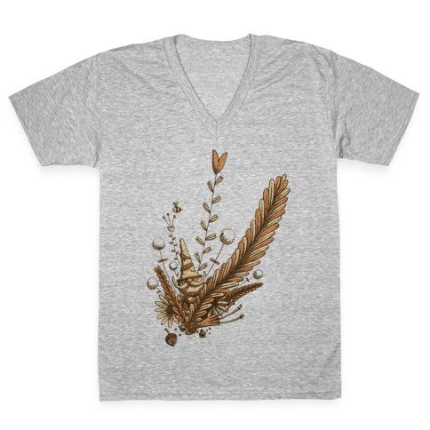 Forest Gnome V-Neck Tee Shirt