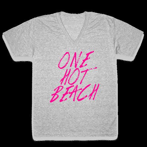 One Hot Beach V-Neck Tee Shirt