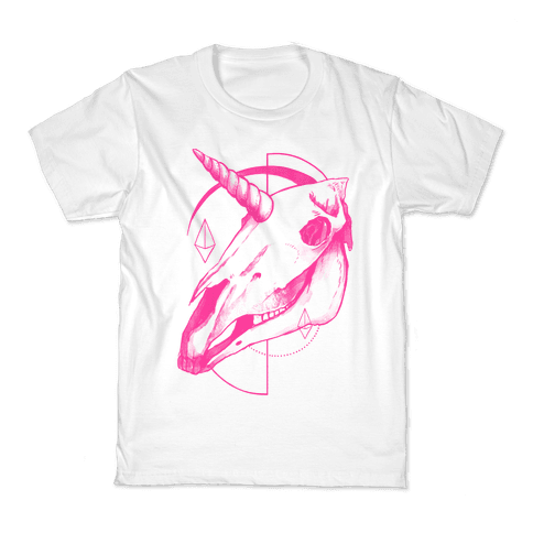 Geometric Occult Unicorn Skull Kids T-Shirt