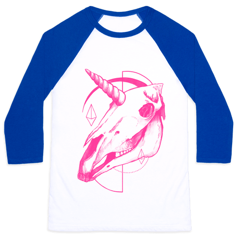 Geometric Occult Unicorn Skull Baseball Tee