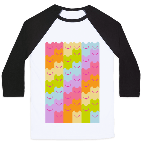 Pastel Rainbow Cats Baseball Tee