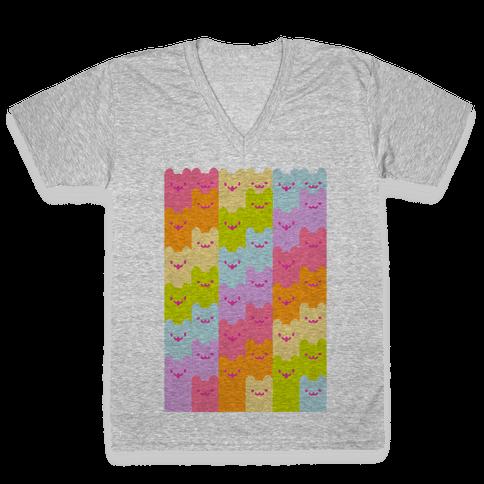 Pastel Rainbow Cats V-Neck Tee Shirt