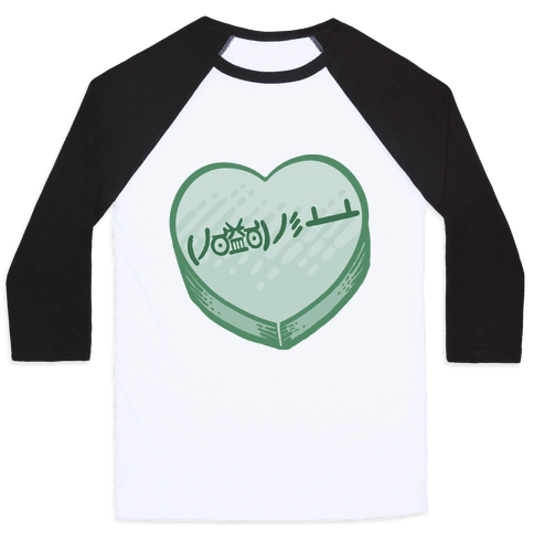 Table Flip Emoticon Candy Heart Baseball Tee