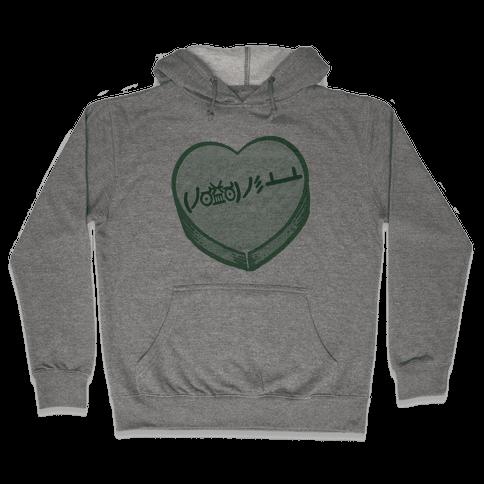 Table Flip Emoticon Candy Heart Hooded Sweatshirt