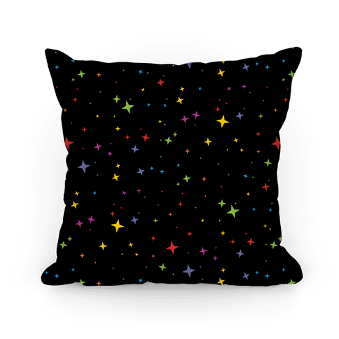 Rainbow Twinkling Star Sparkles Pattern Pillow