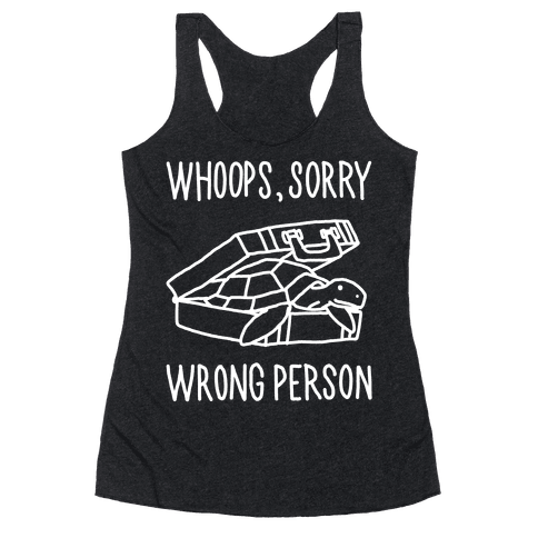 The Turtle Coming Out of a Briefcase Text Racerback Tank Top