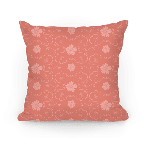 Coral Floral Wallpaper Pattern Pillow