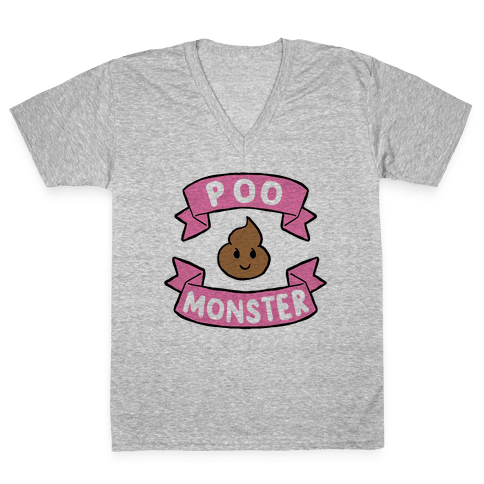 Poo Monster V-Neck Tee Shirt