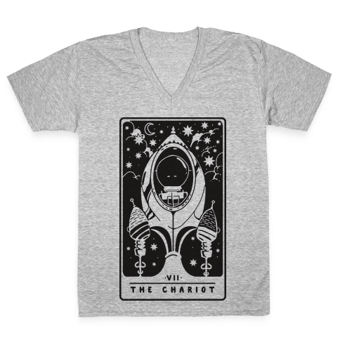 The Chariot Space Rocket Tarot Card V-Neck Tee Shirt