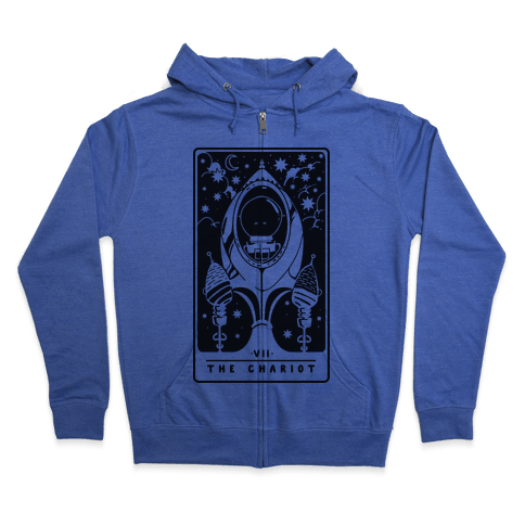 The Chariot Space Rocket Tarot Card Zip Hoodie