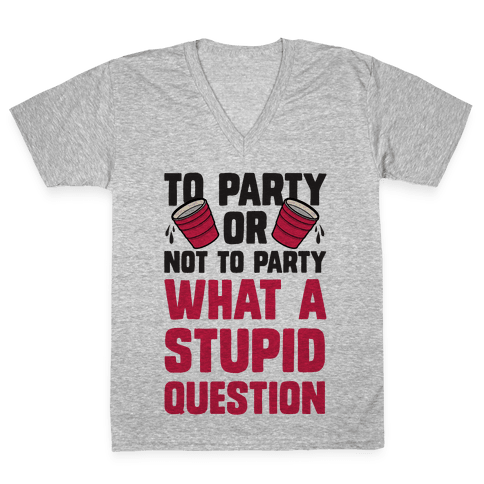 To Party Or Not To Party What A Stupid Question V-Neck Tee Shirt