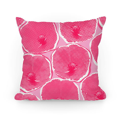 Large Pink Poppy Flower Pattern Pillow