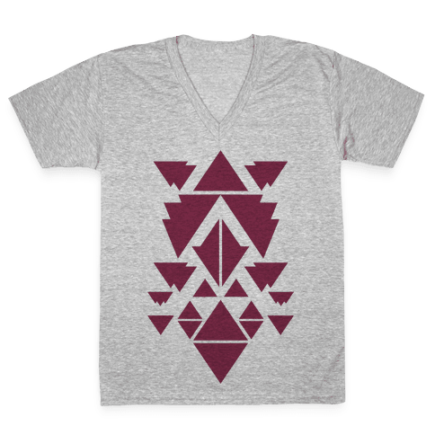 Aztec Pattern (Purple) V-Neck Tee Shirt