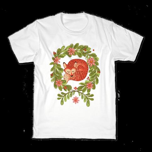 Sleeping Fox Wreath Kids T-Shirt