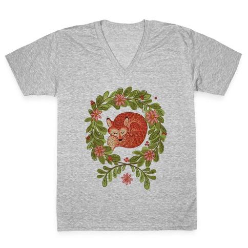 Sleeping Fox Wreath V-Neck Tee Shirt