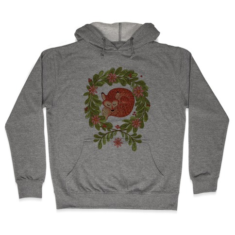 Sleeping Fox Wreath Hooded Sweatshirt