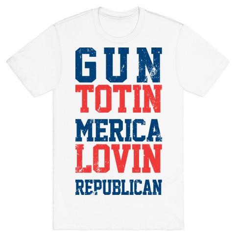 Gun totin Merica Lovin  Mens T-Shirt