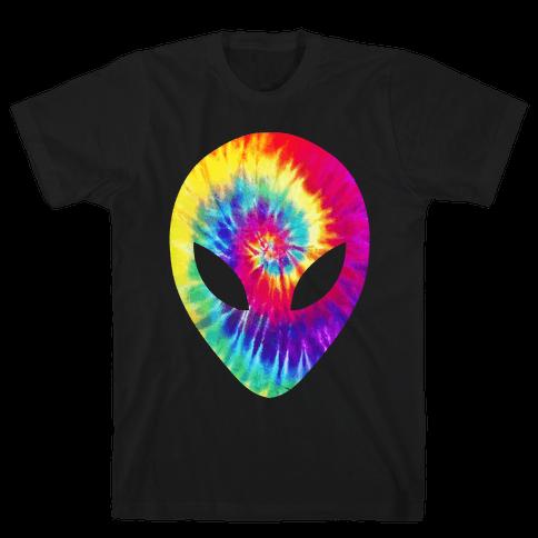 Tie Dye Alien Head Mens T-Shirt