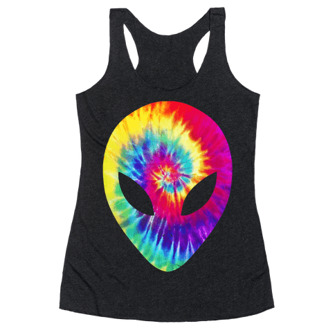 Tie Dye Alien Head Racerback Tank Top