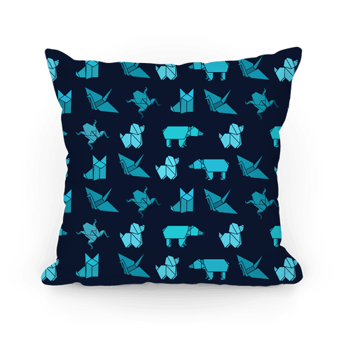 Blue Origami Animal Pattern Pillow