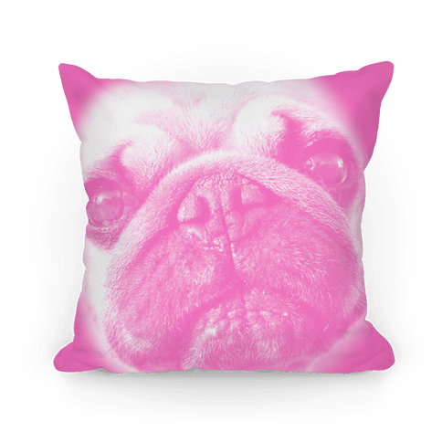 Pink Pug Face Pillow