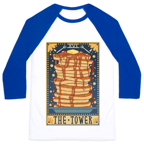 Tarot Card: The Tower (Of Pancakes) Baseball Tee