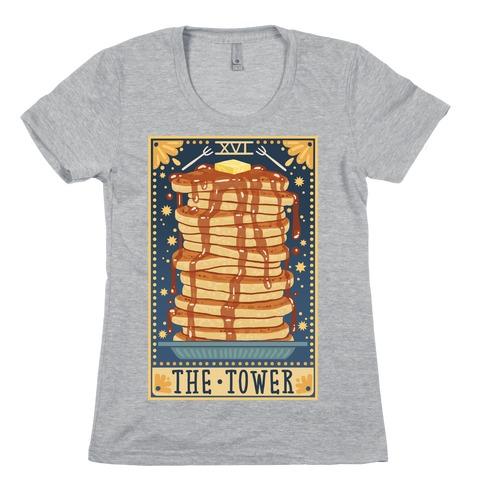 Tarot Card: The Tower (Of Pancakes) Womens T-Shirt