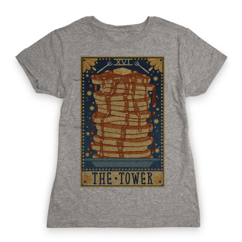 Tarot Card: The Tower (Of Pancakes) Womens T-Shirt