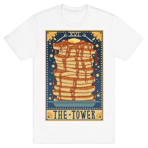 Tarot Card: The Tower (Of Pancakes) Mens T-Shirt