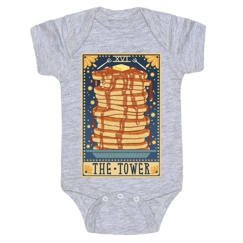 Tarot Card: The Tower (Of Pancakes) Baby Onesy