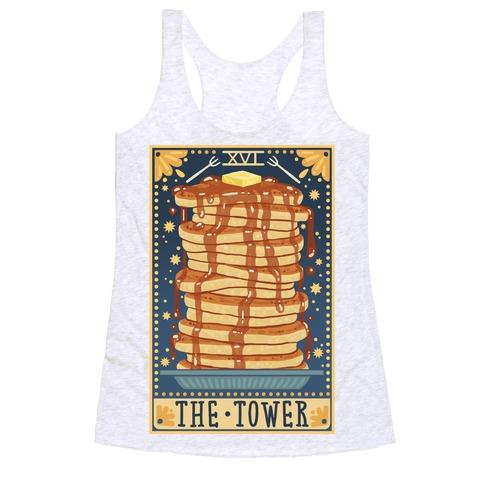 Tarot Card: The Tower (Of Pancakes) Racerback Tank Top