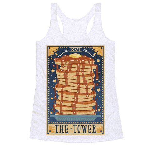 Tarot Card: The Tower (Of Pancakes) Racerback Tank Top