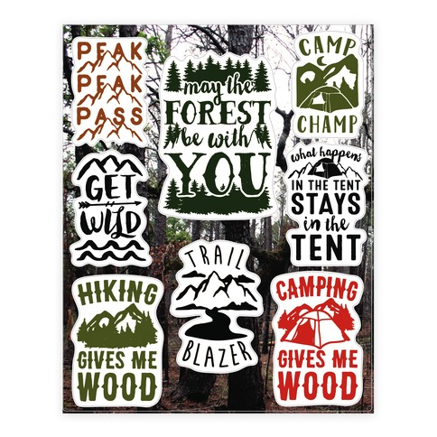 Camping Humor Sticker/Decal Sheet