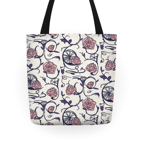 Sleeping Beauty Briar Rose Floral Pattern Tote