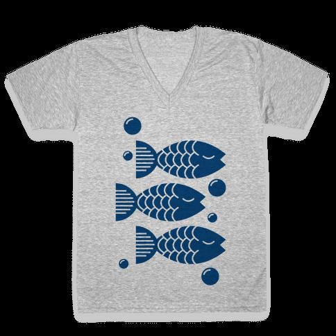 Geometric Fish V-Neck Tee Shirt