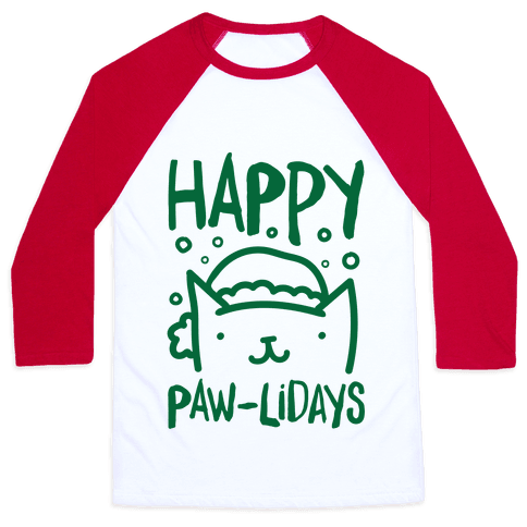 Happy Paw-lidays  Baseball Tee