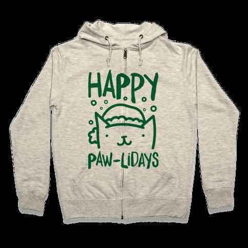 Happy Paw-lidays  Zip Hoodie