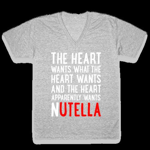 The Heart Wants Nutella V-Neck Tee Shirt