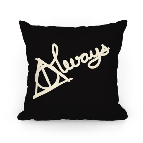 Hallows Always (White On Black) Pillow