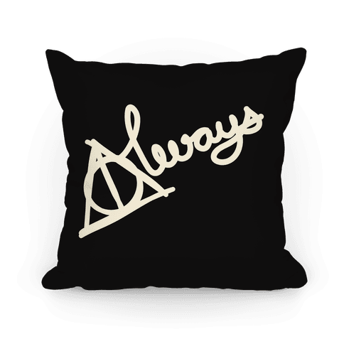 Hallows Always (White On Black) Pillow